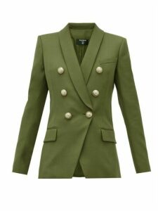 Balmain - Double Breasted Wool Blazer - Womens - Khaki