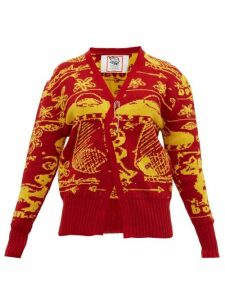 Matty Bovan - Tucked-hem Ufo-jacquard Cardigan - Womens - Red Multi