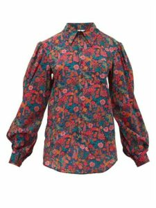 Matty Bovan - Scalloped-sleeve Liberty Floral-print Poplin Shirt - Womens - Pink Multi