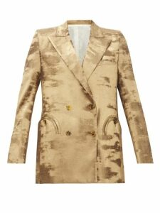 Blazé Milano - Everyday Double-breasted Metallic Jacket - Womens - Gold
