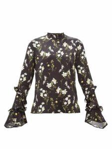 Erdem - Louella Daffodil-print Silk Blouse - Womens - Black Print