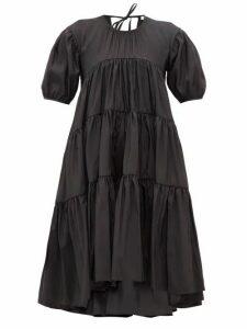 Cecilie Bahnsen - Esme Tie Back Tiered Faille Midi Dress - Womens - Black