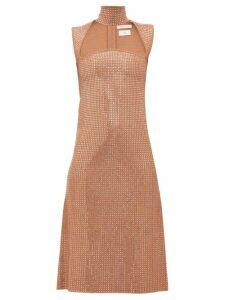 Bottega Veneta - Crystal Embellished Jacquard Knit Midi Dress - Womens - Nude
