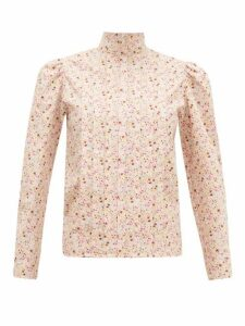 Batsheva - Pleated Floral-print Cotton Blouse - Womens - Light Pink