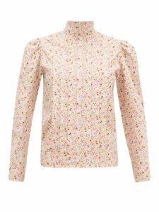 Batsheva - Pleated Floral-print Cotton Blouse - Womens - Light Pink