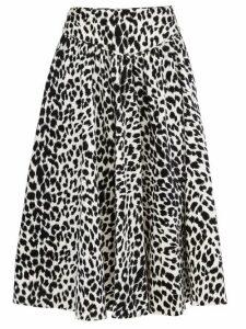 Batsheva - Leopard Print Velvet Midi Skirt - Womens - Leopard