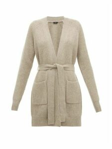 Joseph - Patch-pocket Belted Ribbed-cashmere Cardigan - Womens - Grey