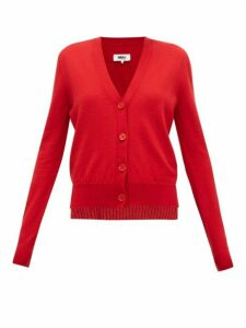 Mm6 Maison Margiela - Layered Wool-blend Cardigan - Womens - Red