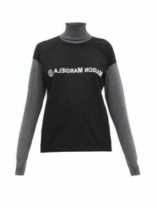 Mm6 Maison Margiela - Deconstructed Logo Print Wool Roll Neck Sweater - Womens - Black Multi
