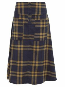 Ace & Jig - Maisie Cut-out Pocket A-line Cotton Skirt - Womens - Navy Multi