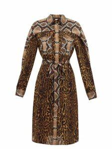 Burberry - Costanza Animal-print Silk-crepe Shirtdress - Womens - Brown Print