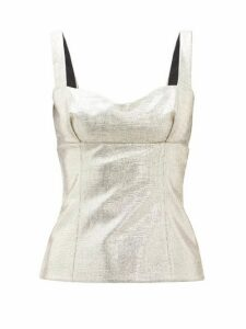 Emilia Wickstead - Madeline Sweetheart Neck Lamé Jersey Top - Womens - Gold