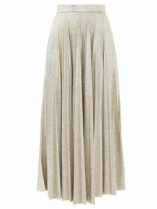 Emilia Wickstead - Sunshine Pleated Lamé-jersey Skirt - Womens - Gold