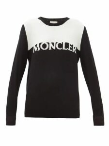 Moncler - Logo-intarsia Wool-blend Sweater - Womens - Black White