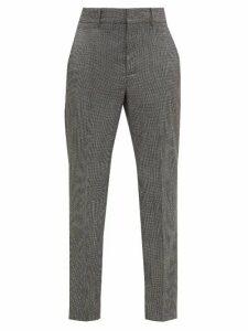 Isabel Marant - Sonnel Houndstooth-wool Slim-leg Trousers - Womens - Dark Grey