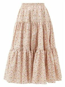 Batsheva - Amy Tiered Floral-print Cotton Skirt - Womens - Light Pink