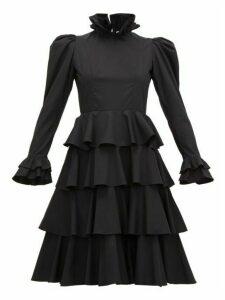 Batsheva - Confection Puffed Sleeve Tiered Cotton Dress - Womens - Black