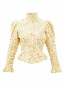 Batsheva - Grace High-neck Ruffled Cotton Blouse - Womens - Yellow