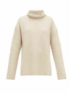 Joseph - Brioche Stitched Cashmere Roll Neck Sweater - Womens - Light Beige