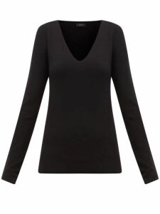 Joseph - V-neck Silk-blend Jersey Sweater - Womens - Black