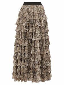 Norma Kamali - Python-print Tiered-ruffle Skirt - Womens - Grey Print