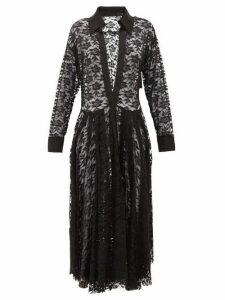Norma Kamali - Plunge Neck Floral Lace Shirtdress - Womens - Black Print