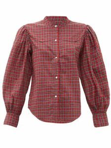 Nili Lotan - Maisie Balloon-sleeve Checked Cotton Shirt - Womens - Red