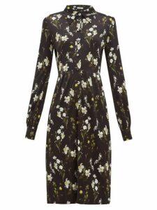 Erdem - Tullio Daffodil Print Jersey Shirt Dress - Womens - Black Print