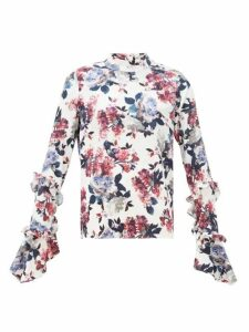 Erdem - Louella Rose-print Silk-jacquard Blouse - Womens - White Multi