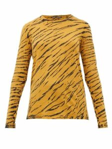 Proenza Schouler - Tiger-print Long-sleeved Cotton T-shirt - Womens - Black Multi