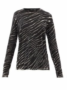 Proenza Schouler - Tiger-print Long-sleeved Cotton T-shirt - Womens - Black White