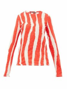 Proenza Schouler - Zebra-print Cotton Long-sleeved T-shirt - Womens - Cream Multi