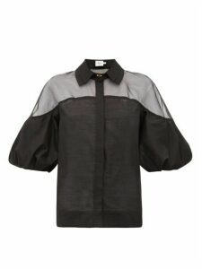 Aje - Banksia Organza-trimmed Cotton-voile Blouse - Womens - Black
