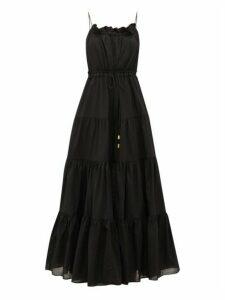 Aje - Banksia Tiered Cotton Maxi Dress - Womens - Black