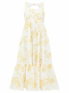 Aje - Mimosa Tiered Broderie-anglaise Cotton Midi Dress - Womens - Yellow White