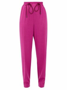 Roksanda - Palmira Knotted Wool-blend Trousers - Womens - Dark Pink