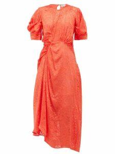 Preen By Thornton Bregazzi - Lally Floral Asymmetric Satin-devoré Dress - Womens - Red