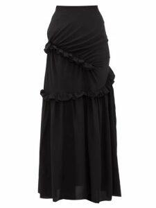 Preen By Thornton Bregazzi - Pheodora Ruffle-trim Silk Crepe De Chine Skirt - Womens - Black