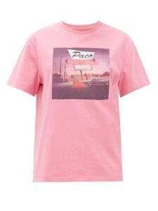 Paco Rabanne - Motel-print Cotton T-shirt - Womens - Pink