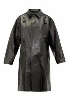 Raf Simons - Oversized Ring-embellished Leather Coat - Womens - Black