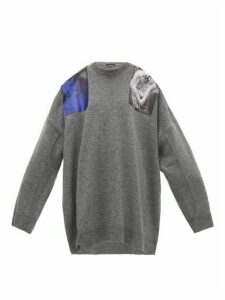 Raf Simons - Shoulder-patch Wool Sweater - Womens - Grey
