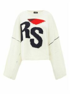 Raf Simons - Logo-intarsia Oversized Wool Sweater - Womens - Cream Multi