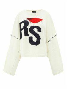 Raf Simons - Logo Intarsia Oversized Wool Sweater - Womens - Cream Multi