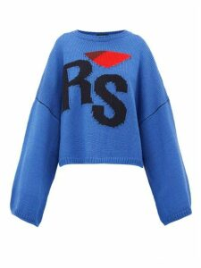 Raf Simons - Logo Intarsia Oversized Wool Sweater - Womens - Blue Multi