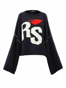 Raf Simons - Logo-intarsia Oversized Wool Sweater - Womens - Navy Multi