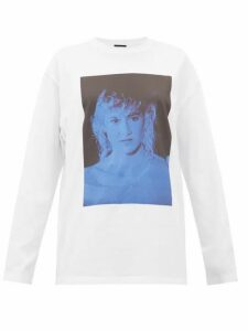 Raf Simons - Blue Velvet-print Cotton-jersey T-shirt - Womens - White