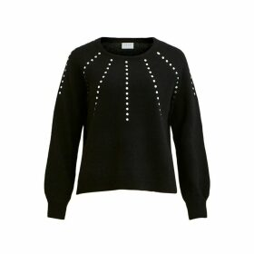 Beaded Chunky Knit Jumper with Crew Neck