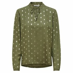 Tie-Neck Grandad Collar Blouse in Polka Dot with Long Sleeves