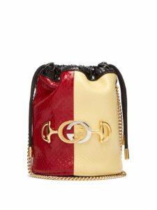 Gucci - Zumi Colour Block Elaphe Cross Body Bucket Bag - Womens - Red