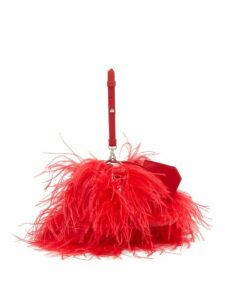 Marques'almeida - Feathered Leather Cross Body Bag - Womens - Red